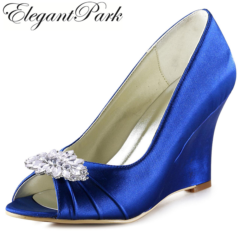 EEP2009AW Women Wedding Wedges High Heel Royal Blue Green Peep Toe Clips Pumps Satin Lady Prom Party Bridal Shoes Teal Champagne comfortable satin dress shoes hoof heel bridal wedding party prom evening pumps mid heel red royal blue champagne white ivory