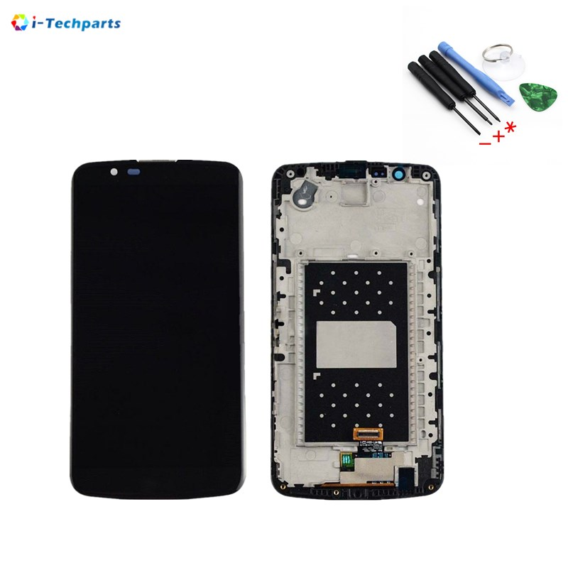 Original For LG K10 LCD Display Screen + Touch Digitizer Assembly with Frame Replacement,Black White original lcd for lg g3 d850 d855 lcd display screen digitizer touch glass pantalla with frame bezel assembly replacement