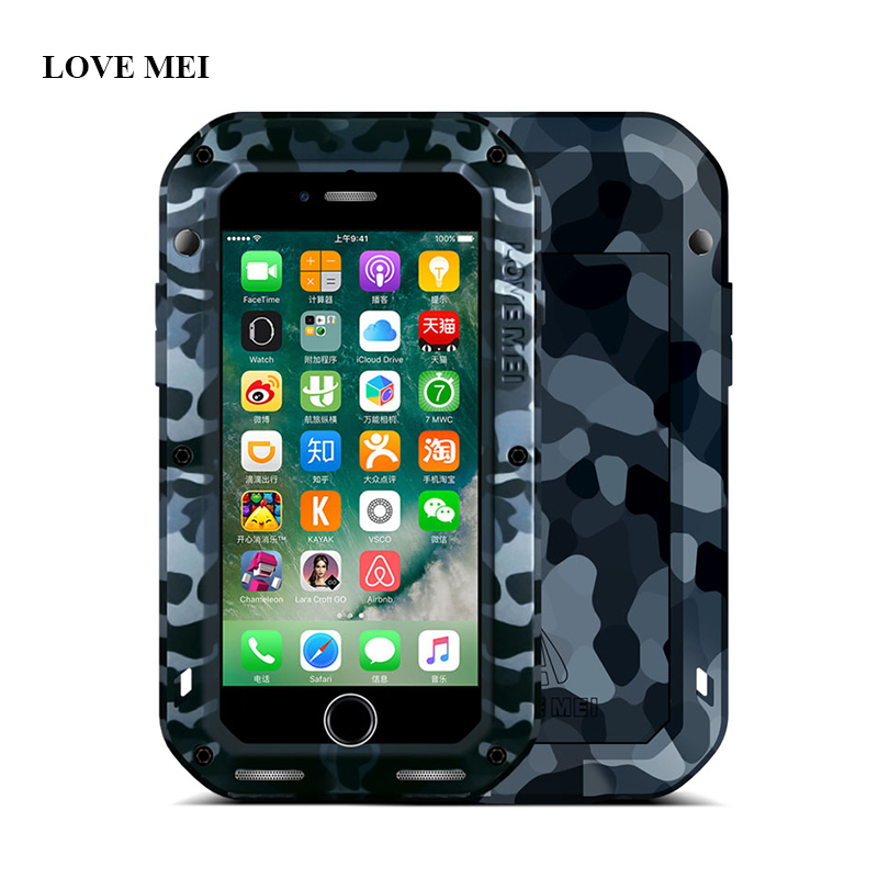 imágenes para Amor mei metal camuflaje case para apple iphone 7 vida a prueba de agua a prueba de golpes cubierta de aluminio para iphone7 4.7 pulgadas proteja shell