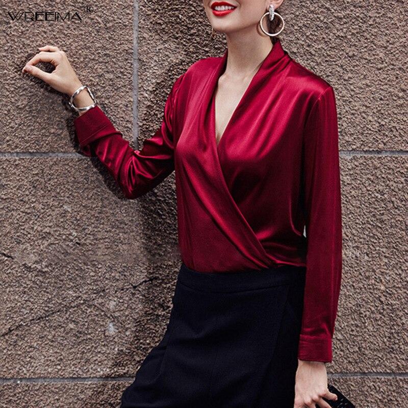 Femmes noir blanc col en V haut pour femme et Blouse dames solide à manches longues bureau dame chemises automne nouvelle mode élégant Blouse