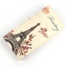 2017 High Quality Women Bag Ladies Flower Tower Pattern  Long Purse Clutch Wallet Bag Card Holder Wallets  Fashion Female #75125