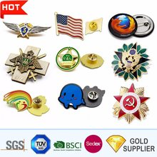 custom metal laser lapel pin cheap badges hot sales  flag