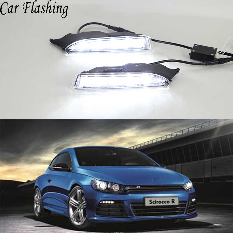 Car Flashing 2Pcs DRL For Volkswagen VW Scirocco R 2010 2011 2012 2013 2014 LED Daytime Running Light With Turning Signal yellow