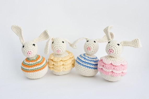 Bunny Baby Rattle - Organic Baby Toy, Crochet Bunny
