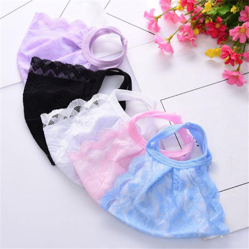 1PC Solid Color Lace Masks Face Mouth Nose Safety Respirator Cycling Anti-Dust Fashion Facial Masks Care