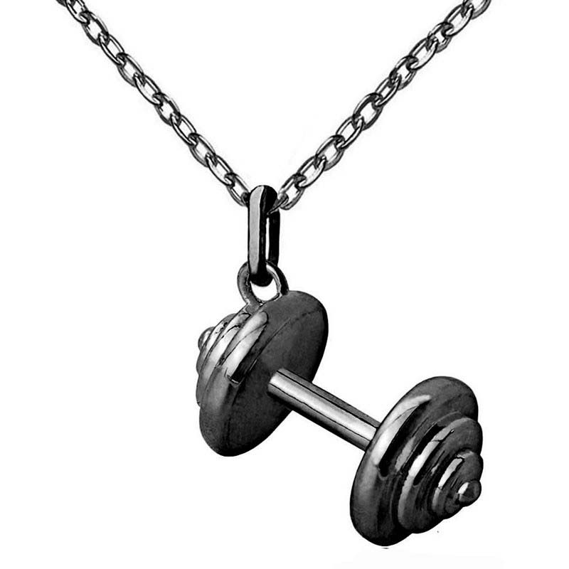 Barbell Pendant Fitness Necklaces for Women Sporty Jewelry Fashion Cloth Accessories Tiny Charm Personality Gym Jewelry