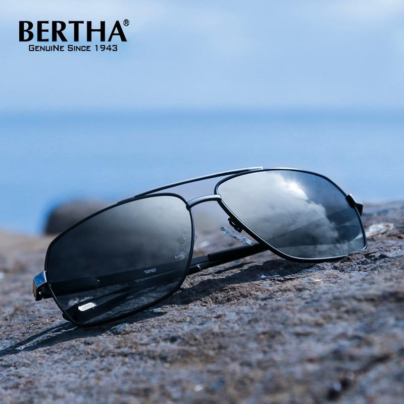 Bertha High Guality Fashion Aviator HD Polarized Sunglasses Men Driving Fishing Glasses Brand Designer For Men 8002 2016 new retro fashion matte frame glasses brand men woemn designer oculos de sol cute round sunglasses n65