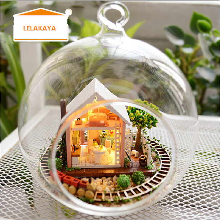 DIY Dollhouse Miniatures Model Kits with LED Light and Voice control Wooden house Assembling  handcrafts Creative Gift LELAKAYA 1