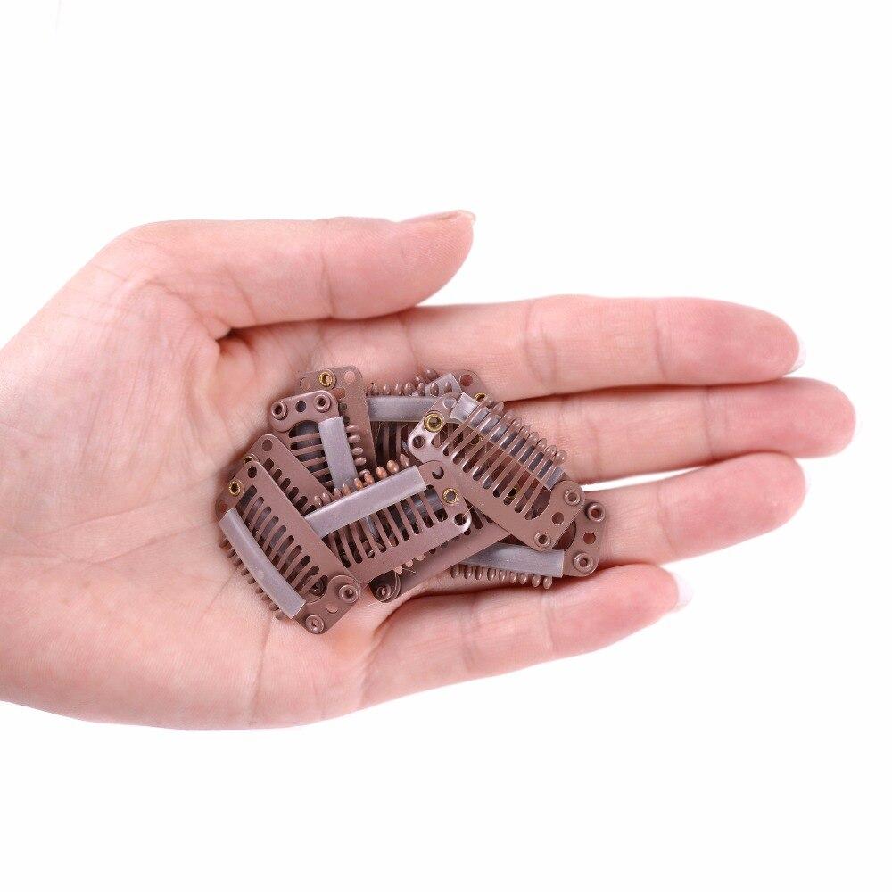 1000 pcs/lot 32mm 9-dents cheveux Extensions Clips Snap métal Clips avec Silicone retour pour Clip dans les perruques de cheveux humains Extensions - 3