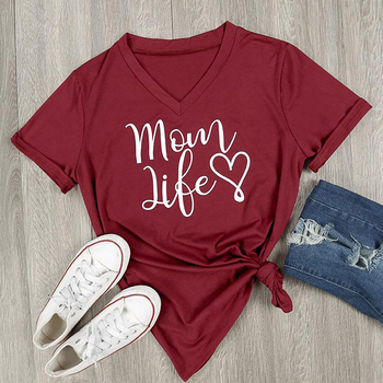 2017 Summer Casual T shirt Female Tee Loose Tops Fashion Women T-Shirts Mom Life Letter Printed V-Neck Short Sleeve Tops 1