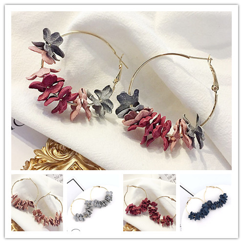 Fabric Flower Petal Hoop Earrings For Women Fashion Alloy Circle Round  Big Earrings Female Jewelry