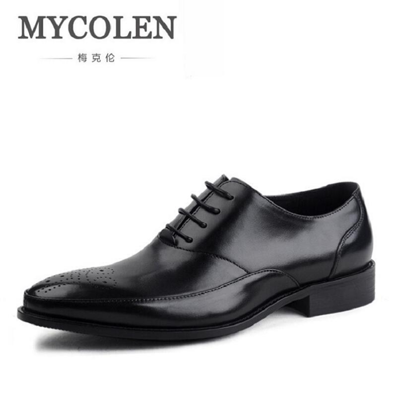 MYCOLEN Classic Lace Up Men Brogue Dress Shoes Genuine Leather Black Formal Office Business Man Suit Footwear chaussure homme 2017 classic polka dot lace up men brogue dress shoes genuine leather brown black formal office business man suit shoe e71815 21 page 9