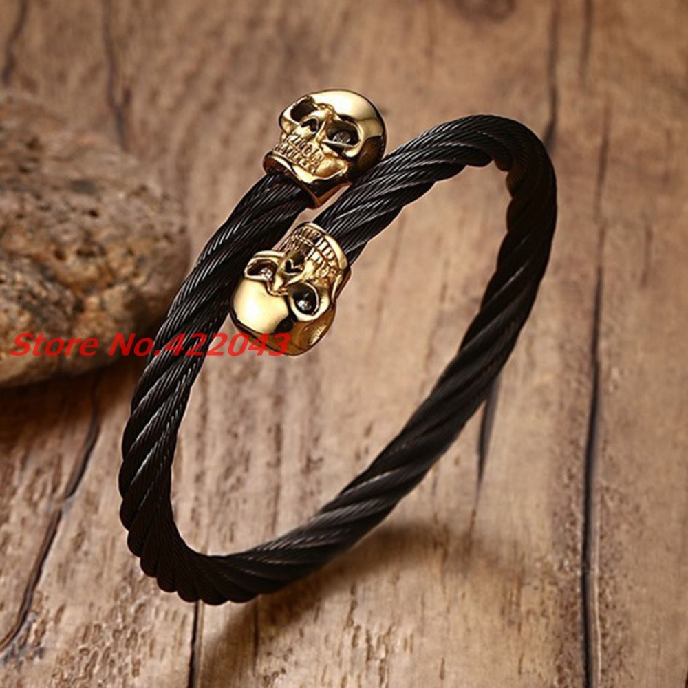 Trendy Luxury Punk Mens Womens 316L Stainless Steel Black Wire Bracelet Gold Color Cuff Bangle Bracelet For 22.5mm Jewelry Gift twisted stainless steel wire mens skull bangle bracelet