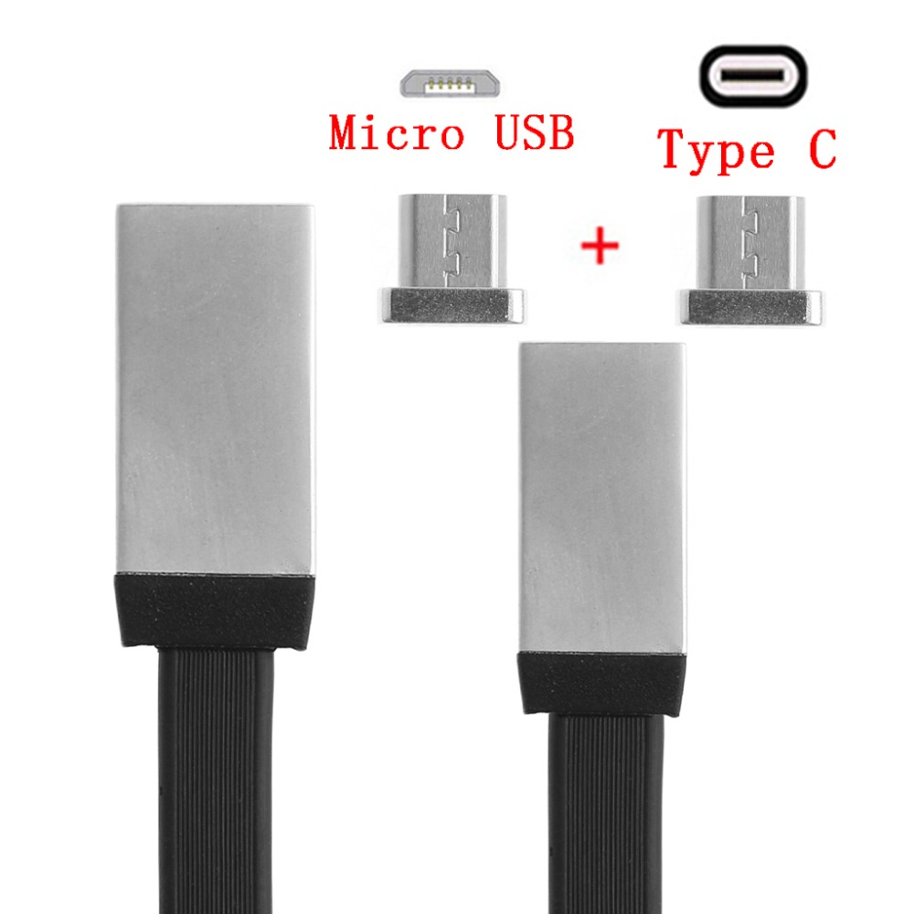 2-In-1 Metal Magnetic USB Type C+Micro USB Charger Charging Data Flat Cable For Samsung LG Oneplus Huawei Xiaomi Android Phone flat micro usb male to usb 2 0 male data sync charging cable for samsung more white 200cm