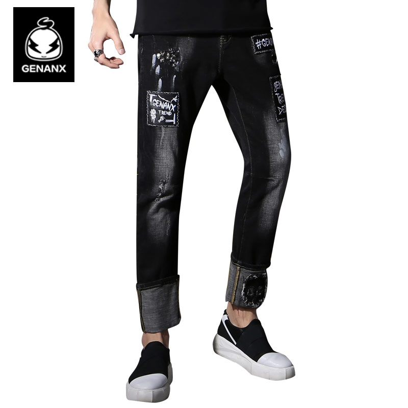 Genanx Brand Polished White Jeans Black Cat Claw Graffiti Straight Casual Trousers Tide SIZE M-XXL