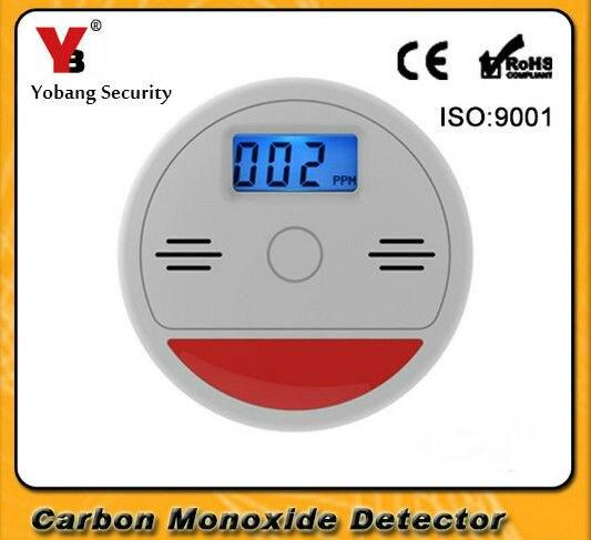 Yobangsecurity seguridad 85dB advertencia LCD independiente fotoeléctrico Sensor de Gas Co monóxido de carbono envenenamiento alarma del detector