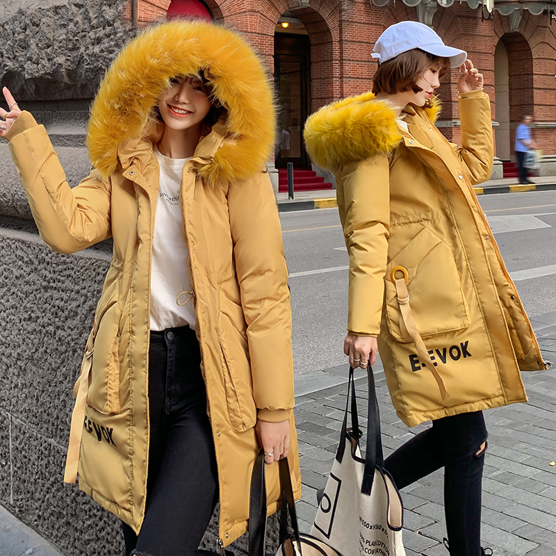 women parkas fur coat  long section 2019 new loose winter jacket women large fur collar thick cotton clothing(China)