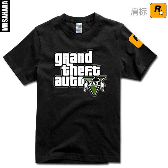 Frete grátis adolescente Grand Theft Auto GTA XBOX 5 sitcoms homem homens macho T-shirt de manga curta-