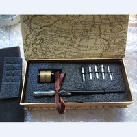 English Calligraphy Fountain Vintage Pen with Gift Box 5 nibs 1 ink