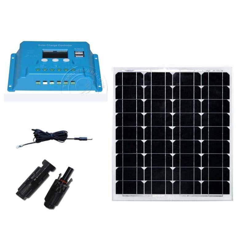 Painel Solar Kit 12 v 50 w Controlador de Carga Solar 12 v/24 v 10A PWM Solar Cabo MC4 Coonector Iate Barco Marinha RV Motorhome