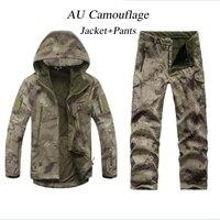הגברים חיצוני עמיד למים Soft Shell סלעית Jacket טקטי הצבאי ומכנסיים גודל S M L XL XXL XXXL