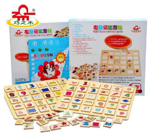 Montessori wooden toy right brain memory game animal digital encyclopedias 1set