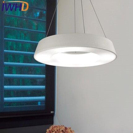 IWHD fer moderne pendentif lumières LED mode rond blanc lampe à la maison luminaires salle à manger Restaurant Luminaire