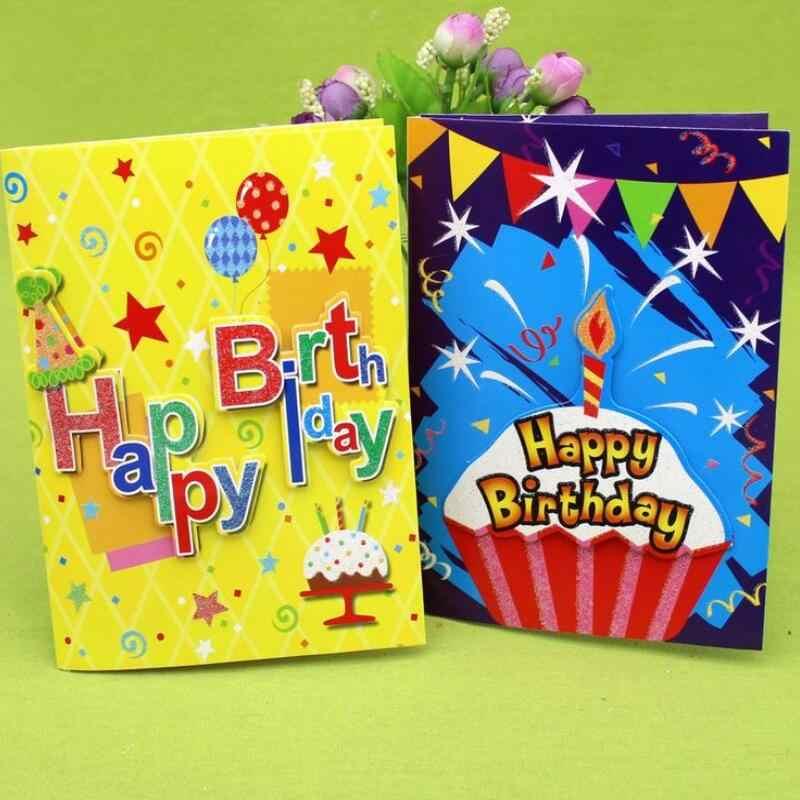 10 Pcs Lot Happy Birthday Music Greeting Card Handmade Children Party Thanks Postcard Blessing
