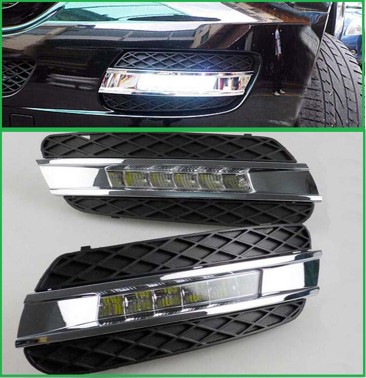 2PCS LED Daylight For Mercedes Benz ML350 W164 ML280 ML300 ML320 2006 -2009 Accessories LED DRL Daytime Running Light LED Lamps