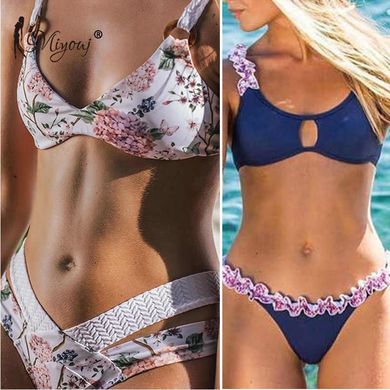 5f8e5316306e8 Miyouj Sexy Floral Bikini Push Up Hollow Out Swimsuit Women Biquinis  Feminino 2019 Deep V Neck