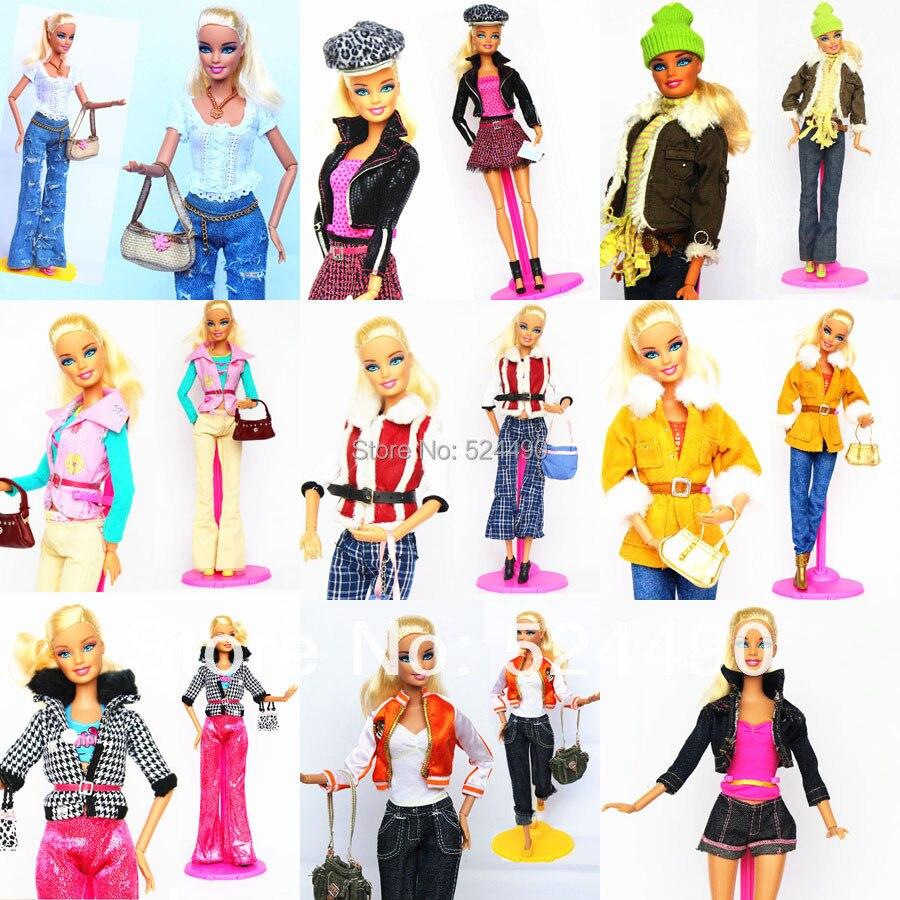 5 Sets Outfit Unique Design Handmade Doll Dresses Clothing Suit Coat Pants Accessories For Kurhn