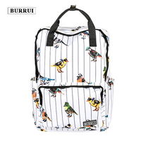 BURRUI New Waterproof Design Square Shoulder Bag Small Bird Print Backpack Small Fresh Schoolbags Unisex Maiden Totes Satchels