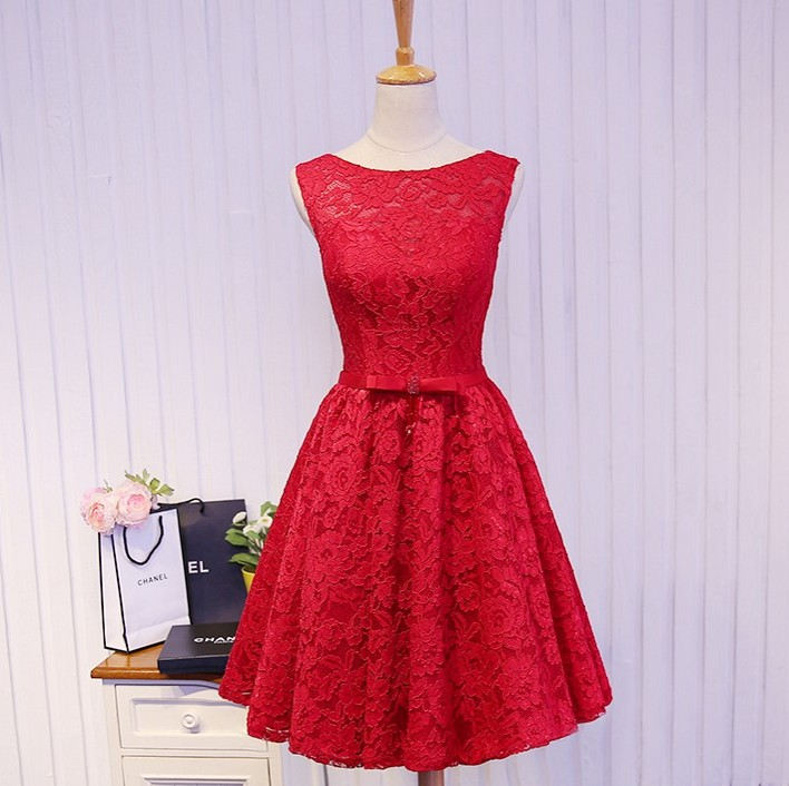 Elegant Red Lace Short Homecoming Dresses 2016 Bow Open