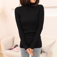sexy polo neck solid women's sweaters and pullovers turtleneck jumpers sheath knitted tops warm shirts ladies knitwear 7088