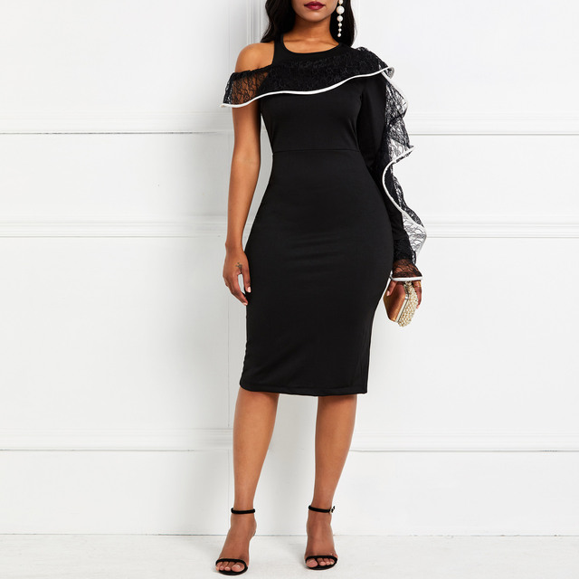 Party Bodycon Dress 2019 Women Sexy One Shoulder Long Sleeve Tight Club Summer Evening Elegant Black Lace Ruffle Midi Dresses