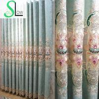 Langsam Seele Grün Beige Luxus Europäischen Stil Wohnzimmer Vorhang Chenille Gestickte Blumen Vorhänge Tüll Für Küche Schlafzimmer