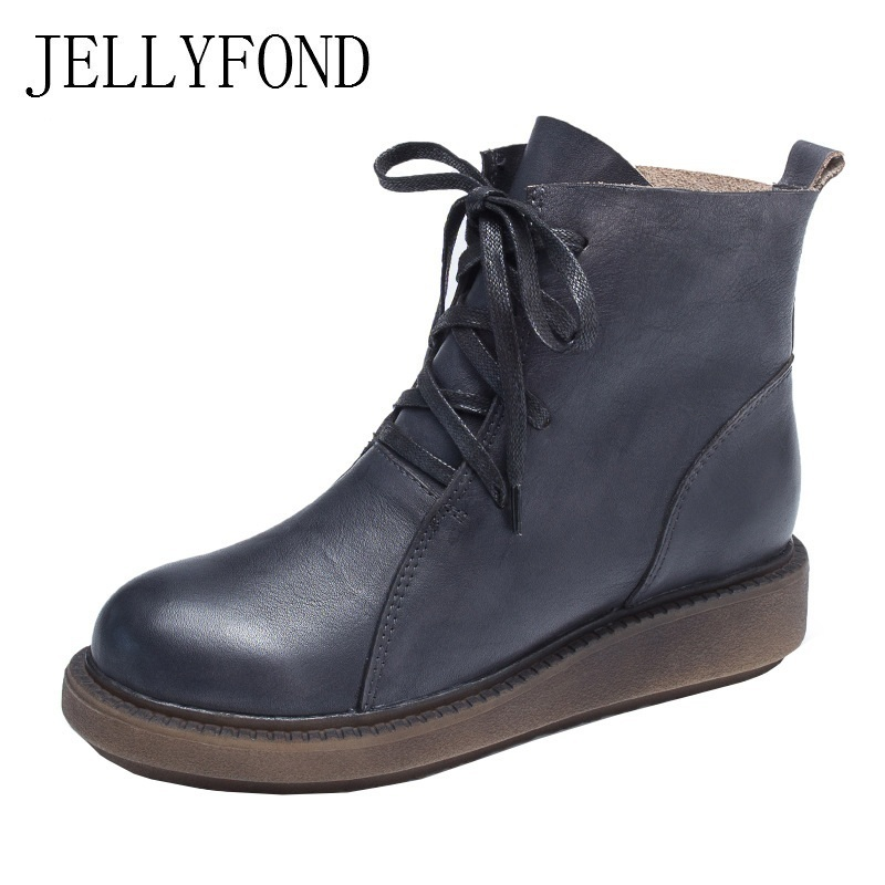 JELLYFOND Designer Martin Boots Women Genuine Leather Lace Up Punk Combat Boots 2018 Autumn Winter Shoes Woman Flat Ankle Boots