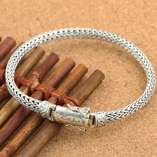 925 sterling silver rope 6mm simple silver bracelet men s models personality 3035c541675d