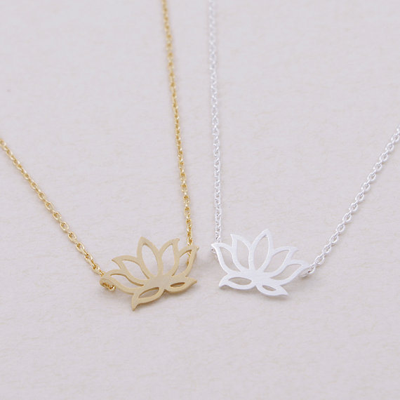 DANGGAO fashion Beautiful Lotus Jewelry pendant Necklace for women charm choker necklace Gold Silver color