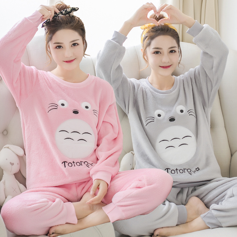 Thick Warm Flannel Pajamas Sets For Women Winter Long Sleeve Coral Velvet Pyjama Girls Cute Cartoon Totoro Homewear Pijama Mujer