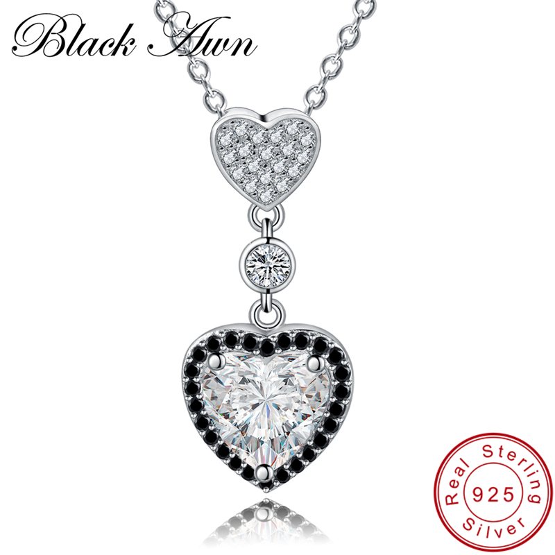 [BLACK AWN] Real 925 Sterling Silver Necklace Heart Women's Black Spinel Necklaces Pendants Gift For Girl P156