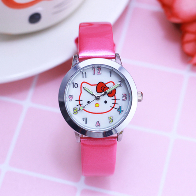 2018 3D Cartoon Hello Kitty Women's Watches Girls Activity Gifts Leather Straps