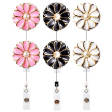 6PCS Retractable Badge Holder with Alligator Clip 24 Inch Retractable Cord, ID Badge Reel with Pearl