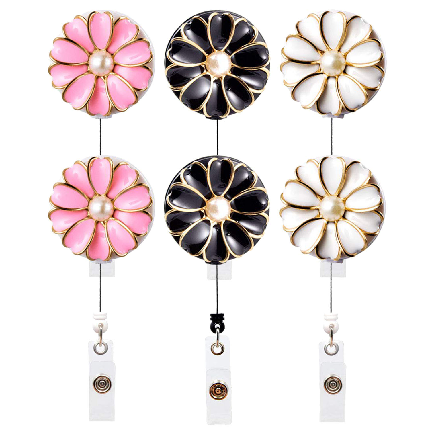 Star Glitter Bling Retractable ID Badge Reel Holder with Alligator Clip