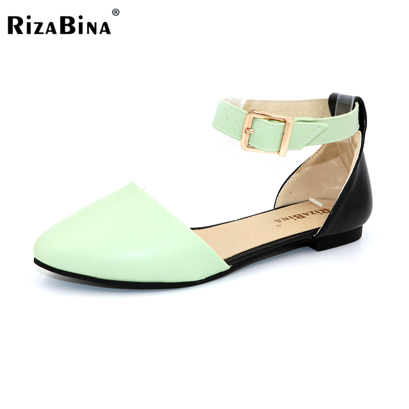 RizaBina Women Flat Sandals Ladies Pointed Toe Flats Shoe Womens High Quality Ankle Strap Shoes Leisure Shoes Size 34-43 PA00290 women flat sandals fashion ladies pointed toe flats shoes womens high quality ankle strap shoes leisure shoes size 34 43 pa00290