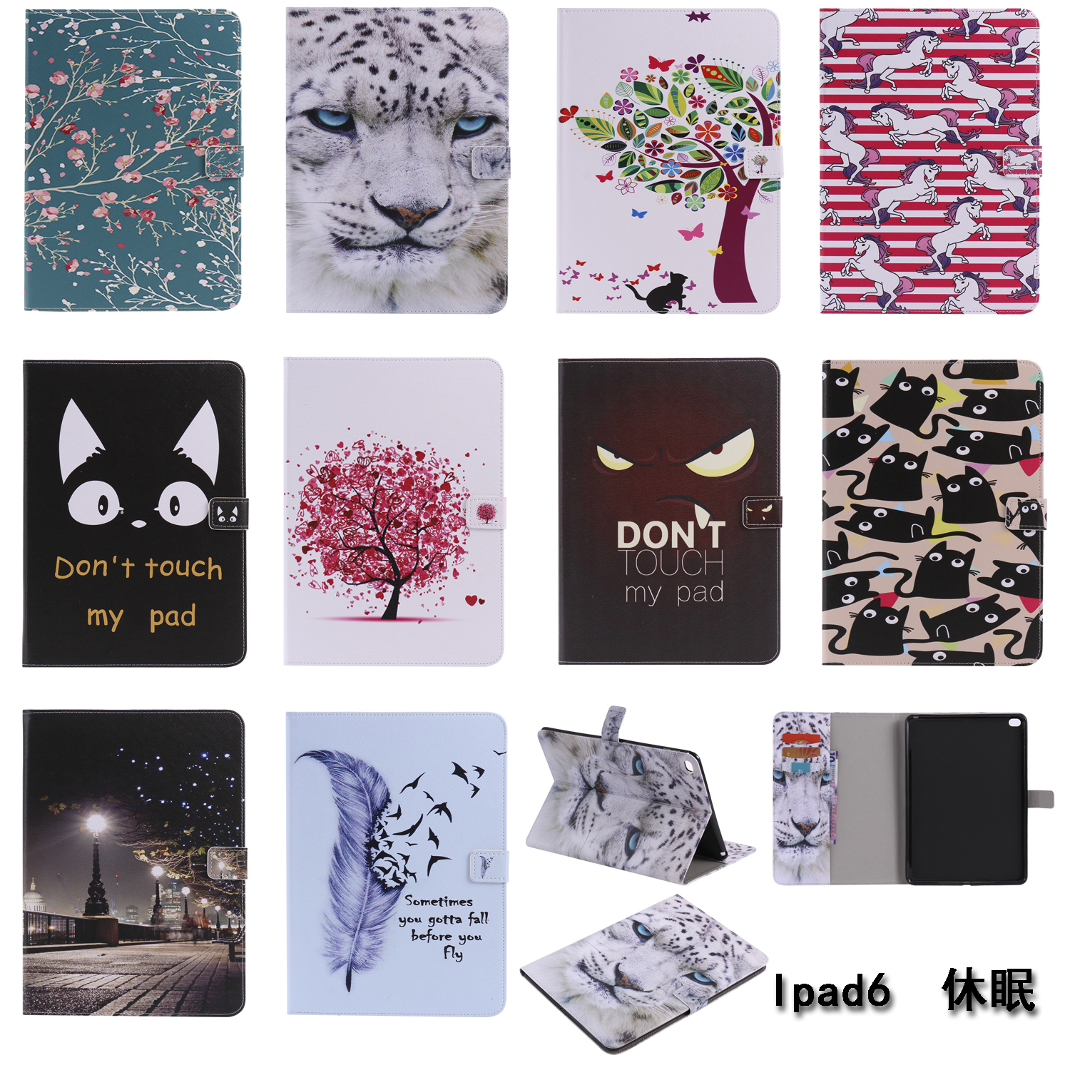 For Apple iPad Air 2 ipad 6 Don't touch my pad tree Cat Smart Tablet Stand Cases Cover For Apple ipad air 2 Case все цены