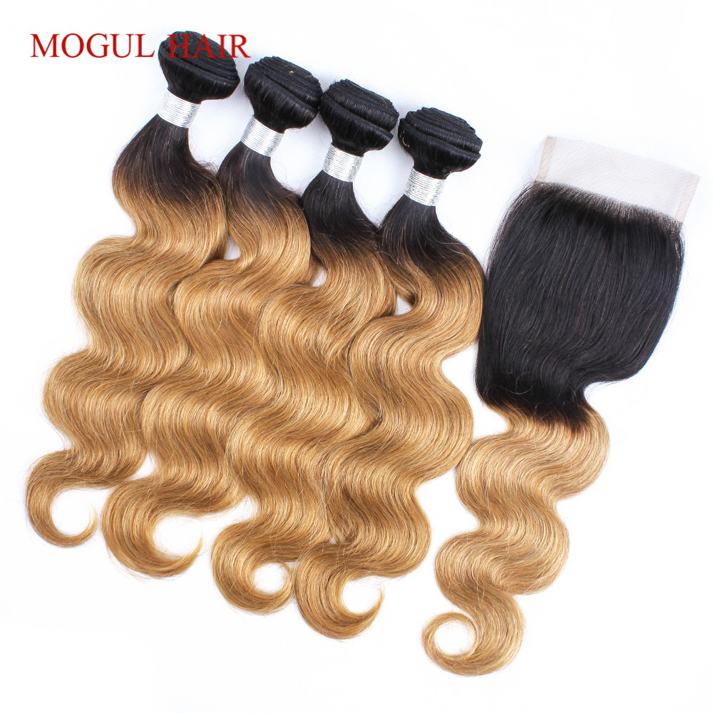 MOGUL HAIR T 1B 27 Ombre Honey Blonde Bundles with Closure Peruvian Body Wave Hair Remy