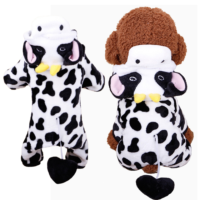 Cow Style Pet Dog Costume Warm Flannel Hoodies Outfit For Dog Winter Dog Clothes Puppy Jacket Clothes for Small Dog ropa perro