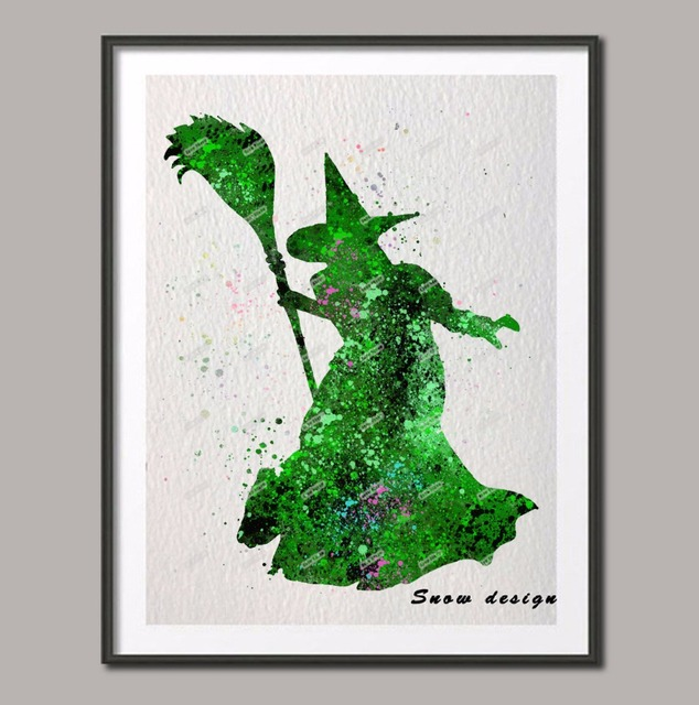original watercolor the wizard of oz wicked witch wall art poster print picture canvas painting home