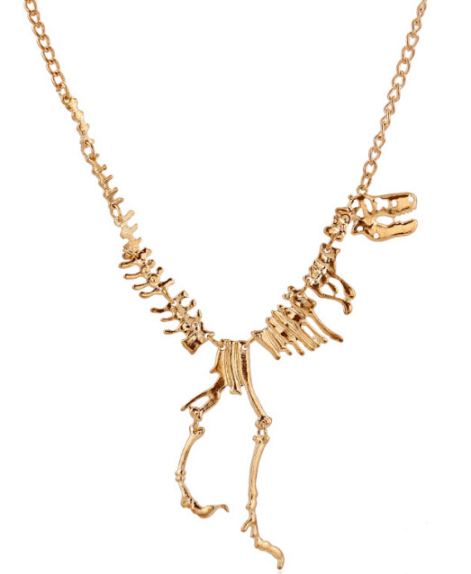Fashion Punk Style Gothic Tyrannosaurus Rex Skeleton Dinosaur Skeletons Necklaces Bone Chain Necklaces & Pendants Sweater Chain